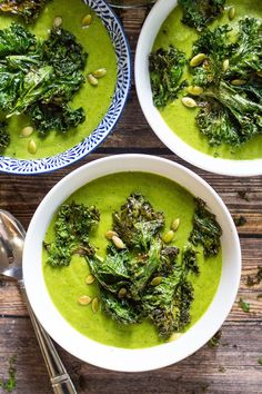 Green Goddess #Vegan Broccoli Soup + Kale Chips #glutenfree | The Girl on Bloor