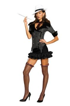 gangster doll costume black medium sexy womens costume with neck tie and gangster dress polyester exclusive of trimcomplete costume package includes - Halloween Mobster Costumes
