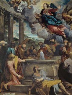 Annibale Carracci, Italian 1560–1609, The Assumption of the Virgin (L'Assunzione della Vergine) c.1587, oil on canvas, 130.0 x 97.0 cm. Museo Nacional del Prado, Madrid (P00075), Spanish Royal Collection.