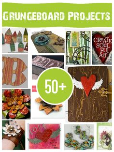 50+ Grungeboard Projects to Make...I've never heard of it, but she describes it: If you have never used Grungeboard, the best way I can describe it is chipboard that you can abuse, twist, sand and color for some amazing effects. Some really cool projects here!