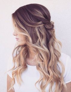 romantic half up half down with loose waves ~ we ❤ this! moncheribridals.com