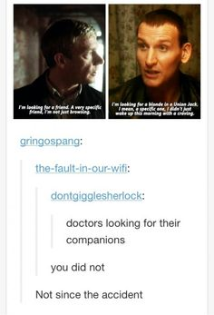"Stephen Moffat and Russell T Davis mind-melding. (Sherlock ""His Last Vow"" & Doctor Who ""The Empty Child"")"