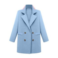 Light Blue Double-Breasted Coat Lookbook Store ($49) ❤ liked on Polyvore featuring outerwear, coats, jackets, blue double breasted coat, double-breasted coat, light blue coat and blue coat