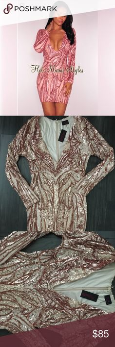 NWT HOT MIAMI STYLES JUST FOR @TRIGGERPULLER Nwt Georgus rose gold dress Size L Hot Miami styles NWOT COACH XBODY LIKE NEW RARE BROWN COACH HERITAGE Dresses Mini