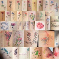 @Soltattoo 2014 꽃타투 모음 . 커플꽃 타투를 제외 하고 똑같은 디자인은 없습니다 . #tattoo#tattooist#tattooistsol#솔타투#lettering#soltattoo#꽃타투#flowertattoo#flower#2014