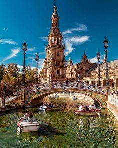 """Rowing in Plaza de España ~ Seville, Andalucía, Spain Travel Tours, Travel Destinations, Ibiza Travel, Romantic Destinations, Places Around The World, Around The Worlds, Places To Travel, Places To Go, Andalucia Spain"