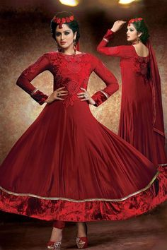 Exquisite Maroon Georgette Resham Emboidered  Ankle Length Anarkali Suit