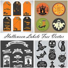 Halloween cards and labels sketchy vector