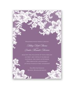 Lace Fantasy Wedding Invitation by David's Bridal: Your choice of color creates a beautiful backdrop for the printed sheer lacy design that surrounds the details of your wedding day on this wedding invitation.