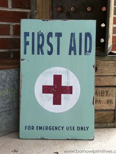 Items similar to First Aid Heavily Distressed Vintage Style Sign on Etsy