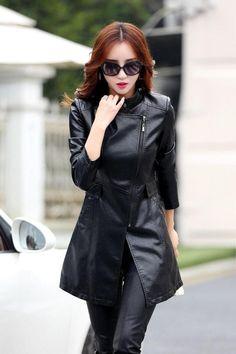 bc4024e5e9fc Long Plus Size Faux Leather Women Jacket Trench Coat в 2019 г ...