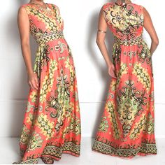 SOLD OUT 1960s vintage medallion maxi dress.  A curated selection of designer & unique vintage by A Part of the Rest