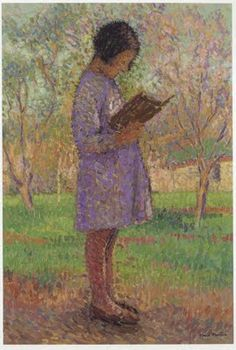 Henri Martin (French, 1860-1943) - 'Young girl reading'