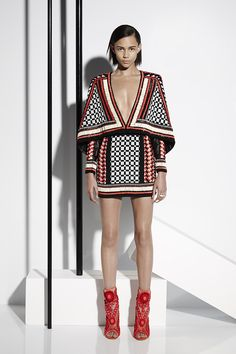 Olivier Rousteing showed a very graphic Balmain collection, much of it with a California and New Mexico vibe. He looked to Navajo blanket patterns for his rich embroideries in shades of bone, turquoise and coral,
