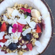 """The infamous @amazebowls at @smorgasburgla are served in a coconut shell with edible flowers. Remember to return the shells to Amazebowls so they can donate them to the #Los Angeles Zoo!"" . credit: @sip.eat.sleep.rhepeat . . CB #Los Angeles is your guide to the best Los Angeles happenings. To discover things to do in L.A., keep an eye on our website [link in the bio] . . . . Events in Hollywood tonight? Keep an eye on our website."
