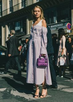 Fall Outfit Idea: Lavender Purple Off the Shoulder Dress + a Mini Purple Lady Dior Bag // More Fall Fashion Ideas: (http://www.racked.com/2015/10/2/9439243/paris-fashion-week-street-style#4847508)