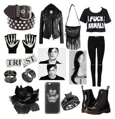 """""""Frank Iero(Female)"""" by haley12345678 ❤ liked on Polyvore featuring Kill Star, Casetify, Dr. Martens, Boohoo, Bassike and Paul Frank"""