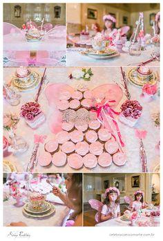 Mesa do chá das fadas. Fada de cupcakes. www.celebracoescomarte.com.br