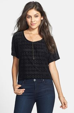 Frenchi® Patterned Velveteen Tee (Juniors) available at #Nordstrom