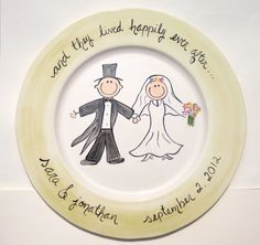 hand painted personalized cermaic wedding platter by suzaluna, $84.00