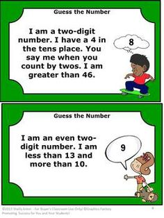 Math Logical Reasoning Guess the Number Task Cards and More!