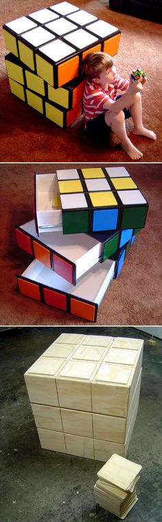 Awesome game room storage bin in the form of a Rubik's cube Jake Rogers would love this. Unique Furniture, Kids Furniture, Gaming Furniture, Furniture Buyers, Furniture Online, Furniture Plans, Office Furniture, Furniture Assembly, Home Projects