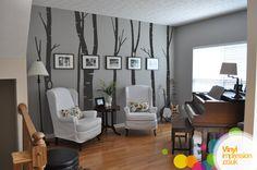 birch tree family tree in dining room