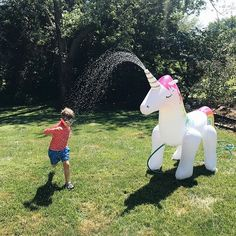 Its not really summer until you run through a unicorn sprinkler  #asafein