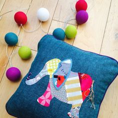 Special version of the patchwork elephant cushion delivered to its new home yesterday! I'm always happy to discuss tinkering with designs to suit your needs - just drop me a message!