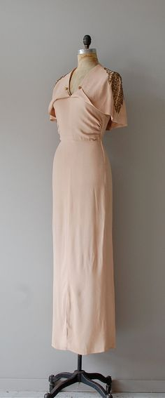 1930s pale blushy bias cut crepe gown with gorgeous cape collar embellished with golden beading and sequins covering the shoulders