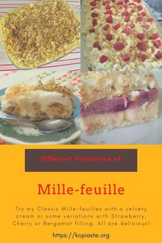 Mille-feuille also written as Millefeuille (in French meaning 'thousand sheets'), known also as Napoleon, is a two or three layer sandwich of puff pastry, alternating with a sweet filling, typically pastry cream, but sometimes whipped cream, or jam. #mille_feuiile #millefeuille #diplomatcream #puffpastry #Frenchdesserts #biscuitbaseddesserts #nobakedesserts Types Of Desserts, No Bake Desserts, Delicious Desserts, Dessert Recipes, Layered Desserts, French Desserts, Greek Recipes, Sugar Eggs, Pistachio