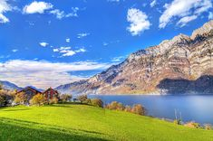 This HD wallpaper is about brown painted house with green grass field near calm body of water with mountain as background under the blue sky, Original wallpaper dimensions is file size is Blue Sky Wallpaper, Scenery Wallpaper, Landscape Wallpaper, Nature Wallpaper, Hd Wallpaper, Desktop Wallpapers, Switzerland Wallpaper, Hdr Pictures, Fall Pictures