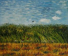 Hand painted oil reproduction of one of the most famous Van Gogh paintings, Edge of a Wheat Field with Poppies and a Lark. Description from artoutpost.net. I searched for this on bing.com/images