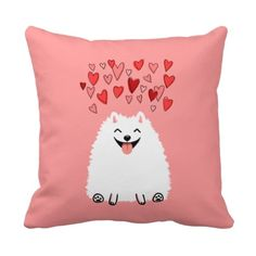 Happy White Pomeranian with Pink Hearts Pillow