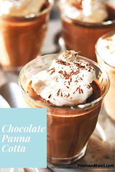 A super easy recipe for dark Chocolate Panna Cotta! A chocolatey twist on the classic Italian dessert! Lighten it up by making with milk instead of cream or go dairy free using coconut or nut milk! Impressive Desserts, Easy Desserts, Dessert Recipes, Chocolate Panna Cotta, Chocolate Shavings, Easy Summer Meals, Healthy Summer Recipes, Italian Desserts, Italian Recipes