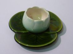 Vinatge Majolica 1940s Water Lily Egg Cup by FulfillThePromise, $15.00