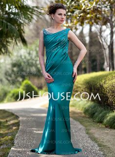 Mother of the Bride Dresses - $146.99 - Sheath Off-the-Shoulder Sweep Train Charmeuse Mother of the Bride Dress With Ruffle Beading Sequins (008022934) http://jjshouse.com/Sheath-Off-The-Shoulder-Sweep-Train-Charmeuse-Mother-Of-The-Bride-Dress-With-Ruffle-Beading-Sequins-008022934-g22934