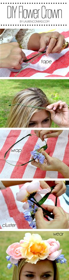DIY flower crown {easy + cute for #Coachella!}