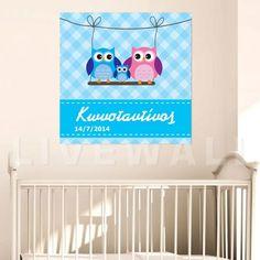 Παιδικός πίνακας σε καμβά κουκουβάγιες με όνομα Blue Toy Chest, Cribs, Storage Chest, Toys, Pink, Baby, Home Decor, Cots, Activity Toys