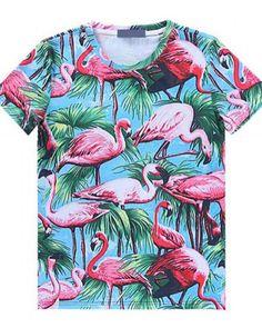 0958560fb698b t shirt Nice print Animals Bird Flamingo Girl Tees
