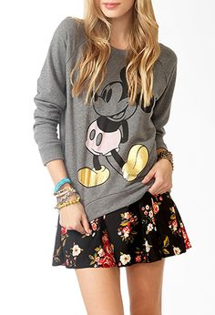 Contrast Mickey Mouse Sweatshirt | FOREVER21 -  I only like the sweater, not the skirt.