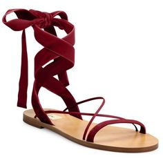 Valentino Velvet Ankle-Wrap Sandals ($595) ❤ liked on Polyvore featuring shoes, sandals, flat sandal, rubino, ankle strap flat shoes, ankle strap sandals, wrap around shoes, flat shoes and ankle wrap sandals
