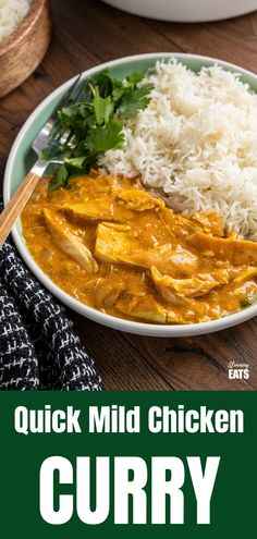 Quick Mild Chicken Curry - a delicately flavoured curry using chicken and yoghurt for a perfect family meal any night of the week. Mild Chicken Curry Recipe, Healthy Chicken Curry, Healthy Curry Recipe, Curry Recipes, Chicken Recipes, Healthy Recipes, Savoury Recipes, Slimming World Chicken Dishes, Slimming Eats