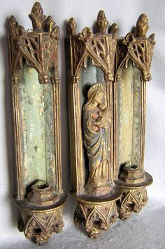 3 Piece Borghese Gothic Madonna Grotto & Candle Sconces
