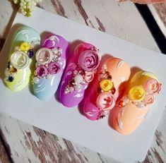 Bling Nail Art, Bling Nails, Gel Nail Art, Gem Nails, Rose Nails, Flower Nails, 3d Nail Designs, Flower Nail Designs, Stone Nail Art