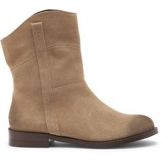 Sole Society Galen Slip On Bootie ($50) ❤ liked on Polyvore featuring shoes, boots, ankle booties, coffee, suede ankle bootie, slip on boots, suede ankle booties, suede boots and pull on boots