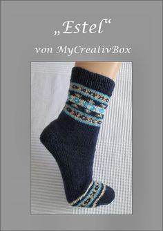 """Socken """"Estel"""" gestrickt Gr.: 32-43, Fair Isle Knitting Socks, Knit Socks, Sock Toys, Mittens, Pattern, Fashion, Tutorials, Hand Crafts, Fingerless Mitts"""