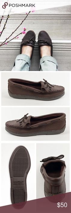 Minnetonka moosehide kilty moccasin These sturdy loafers are handmade from the highest-quality moosehide, so they're designed to last and last. Super-soft moosehide, a flexible rubber sole and fully padded insole make these flat shoes ultra comfortable and perfect for completing any casual look. Kilty fringe, hand-stitched toe details and rawhide ties finish these durable women's shoes.    Thick moosehide leather Padded insole Lightweight, flexible rubber sole  Great condition...see pictures…