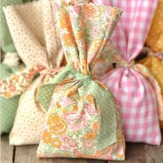 Make no-sew favor bags with upcycled fabric.
