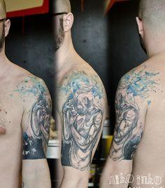 Abstract watercolor sketch tattoo by Niko Inko Great Tattoos, Tattoos For Guys, Tattoo Shop, I Tattoo, Button Tattoo, Street Tattoo, Thick Skin, Original Tattoos, Watercolor Sketch